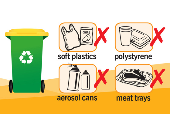 soft plastics, polystyrene, aerosol cans and meat trays are not allowed in the recycling bin in WA